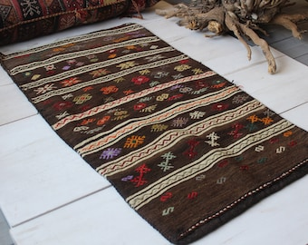 "2'4""x4'5"" ft Vintage Kilim Sack,Tribal Ethnic Nomadic Handwoven Wool Kilim Bag, Kilim Floor Pillow"