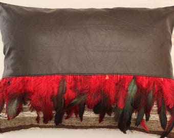 Faux Leather,Red Plume and Vintage Wool Kilim Pillow Cover, Bohemian Kilim Pillow,Throw Pillow,Ethnic Pillow Case ,Decorative Pillow