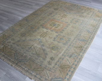 "5'3""x7'7"" ft  Vintage Rug, Vintage Oushak Rug, Rug with High Quality Wool , Vintage Turkish Rug, Beige Anatolian Rug"