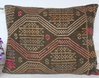 18x23 inch Kilim  Pillow Case, Kilim Pillow Cover, Ethnic Kilim Pillow Case, Bohemian Pillow Cover, Vintage Kilim Pillow Cover