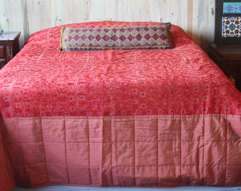 Bohemian Bed Cover,Pale Orange Bed Blanket,Silk Taffeta Tribal Ethnic  Throw