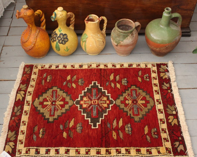"""1'8""""x3'5"""" Red Vintage Small Turkish Carpet,Tribal,Ethnic,Traditional,Rustic Handwoven Small Wool  Rug small oushak carpet rug"""