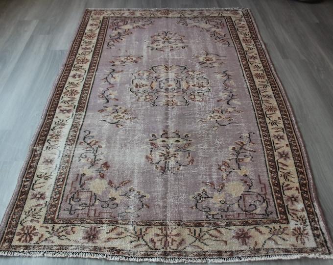 "Lavender Colour  Rug, Vintage Area Rug, Lavender  Area Rug, Large Turkish Rug, Handwoven Traditional Rug / C-4057 / 5'5""x8'4"" feet"