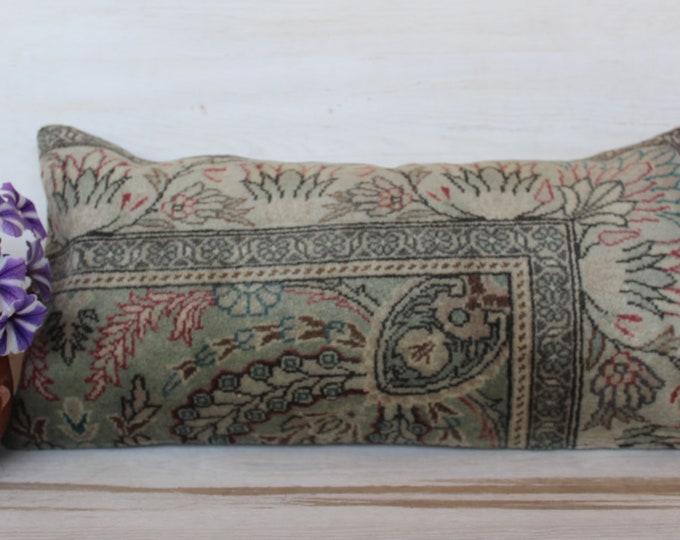 13x24 inch LUMBAR Carpet Pillow, Vintage Rug Pillow, Bohemian Pillow Case, Handwoven Pillow Cover, Decorative Lumbar Pillow, Rug Pillow Case
