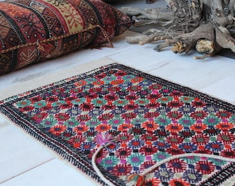 "2'0""x3'5"" ft Vintage Nomadic Kilim Sack, Ethnic Tribal Handwoven Wool Kilim Storage Bag, Bohemian Wool Floor Pillow -Pouf"