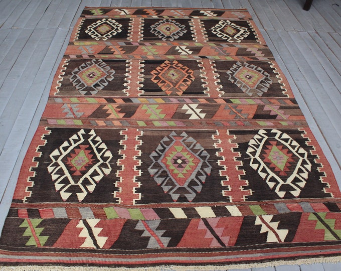 "4'9""x 7'8"" Vintage Turkish Kilim, Ethnic Bohemian Nomadic Traditional Turkish Karakecili Kilim Rug"