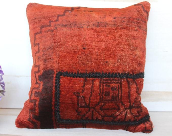 Vintage Rug Pillowcase, Ethnic Wool Pillow Cover, Turkish  Red Rug Pillow Cover, Turkish Pillow Cover, Vintage Red Pillow Case