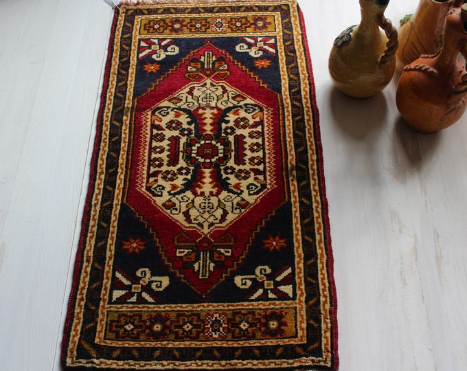 """1'6""""x3'4"""" Turkish Vintage Handwoven Wool Small Rug,Ethnic Door Mat"""