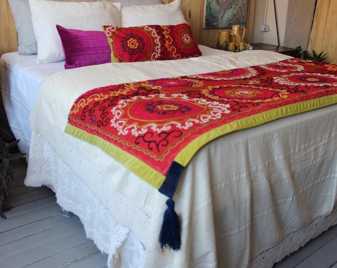 Vintage Suzani Throw SET , Ethnic Tribal Bohemian Embroidered Suzani Throw Set
