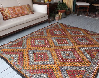 "5'7""x 6'7"" Area Kilim,Vintage Ethnic Bohemian Turkish Handwoven Wool Kilim Rug,Decorative Kilim Rug"