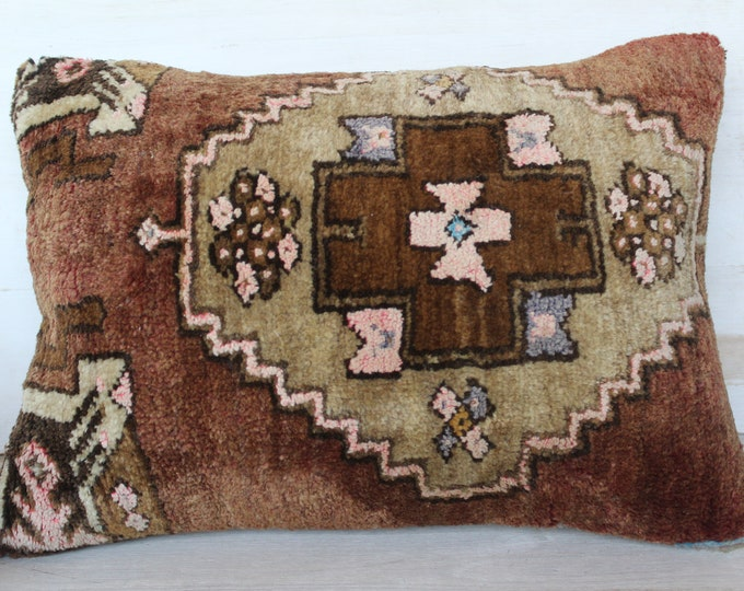 15x20 inch Vintage Rug Pillow Case, Ethnic Wool Pillow Cover, Brown Wool Pillow Case, Bohemian Pillow, Handwoven Pillow Cover, Rug Cushion