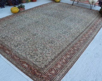 "8'4""x12' ft  Vintage Area Rug, Large Area Rug, Vintage Oushak Rug,Low Piled Anatolian Rug, Over Sized Turkish Rug"