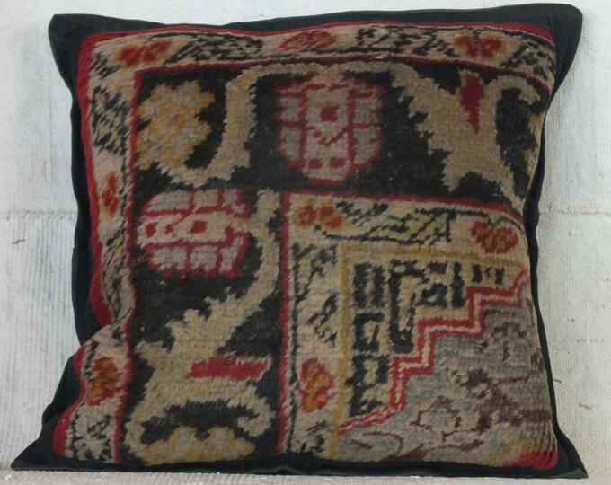18x18 Rug Pillow, Turkish Pillow Case