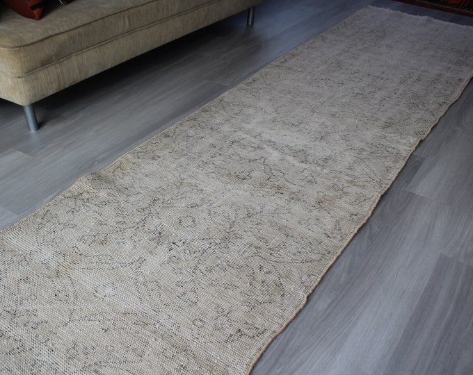 RUNNER, 3'X11' ft , Vintage Distressed Rug Runner, Pale Rug Runner, Vintage Oushak Runner