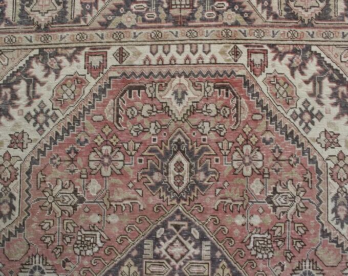 """6'5""""x9'4"""" ft Vintage Oushak Rug, Large Area Rug, Vintage Area Rug, Large Oriental Rug, Beige-Pink Area Rug, Low Piled Rug / C-4344"""