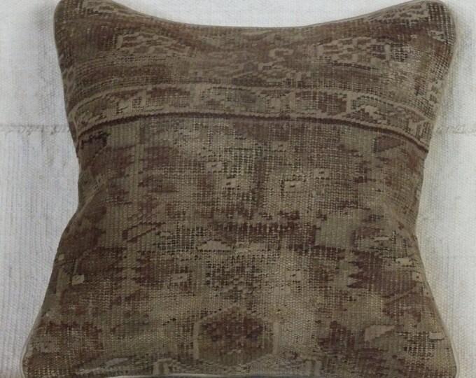 14x14  Antique Gordes Rug Pillow Case,Turkish Rug Pillow, Vintage Pillow Case