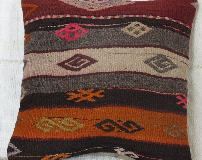 15x15 Pillow Case, Turkish Kilim Pillow, Tribal Kilim Pillow Case