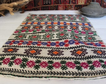 "2'0""x3'3"" Vintage Handwoven Wool Kilim Sack,Ethnic Bohemian Turkish  Kilim Floor Pillow, Kilim Pouf"
