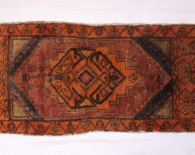 Vintage Anatolian Rug Door Mat, Ethnic Handwoven Wool Rug Door Mat,Earth colours small rug,Home decoration