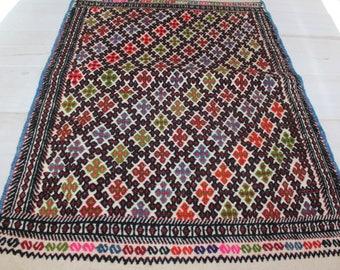 """2'2""""x3'7"""" Vintage KILIM SACK, Ethnic Bohemian Tribal,Nomadic Handwoven Wool Kilim Sack Kilim  Sack,Kilim Floor Pillow, Kilim pouf"""