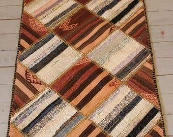 "1'6""x2'6"" Patchwork small kilim, Patchwork doormat, kilim, Kitchen kilim rug,bathroom kilim rug, handmade rug"