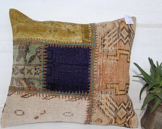 18x20 inch Patchwork Kilim Pillow Case,Ethnic Bohemian Kilim Pillow Cover, Vintage Kilim Pillow Case, Decorative Pillow Cover