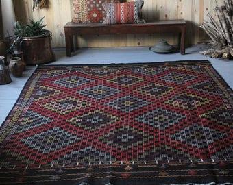 Vintage Mut Cicim Kilim, 9.25 x 6.72 ft,Diamond shape kilim,Turkish Kilim, Bohemian Area kilim