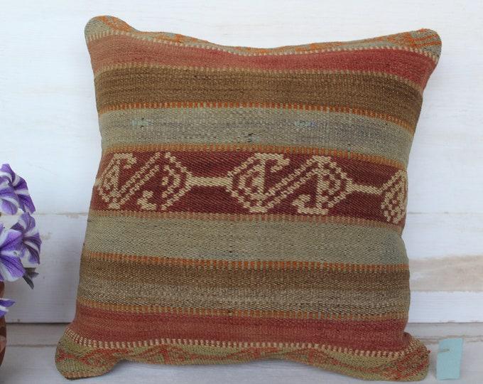 16x16 inch  KILIM Pillow Cover, Vintage Kilim Pillow Case, Striped Kilim Pillow Cover, Bohemian Pillow, Ethnic Kilim Pillow