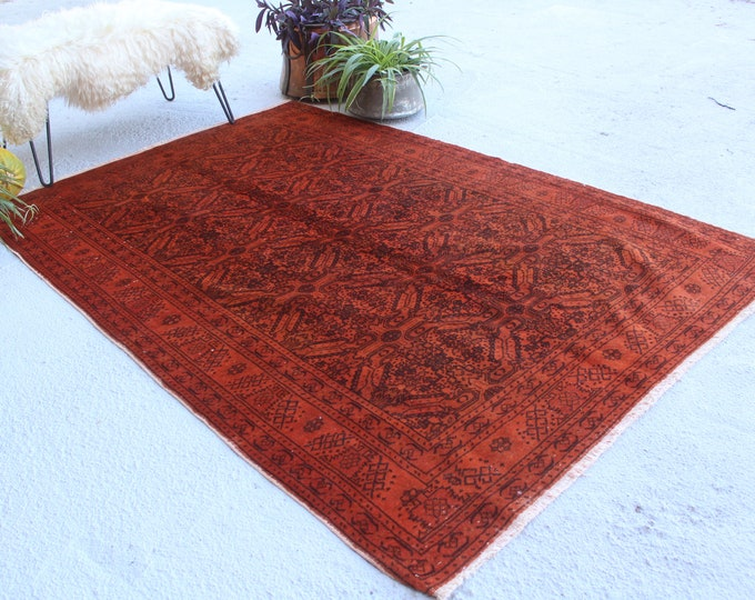 "4'8""x7'2"" ft  Vintage Over Dyed, Ethnic Red Rug, Red Area Rug, Vintage Red Rug, Bohemian Area Rug, Decorative Red Rug, Red Anatolian Rug"