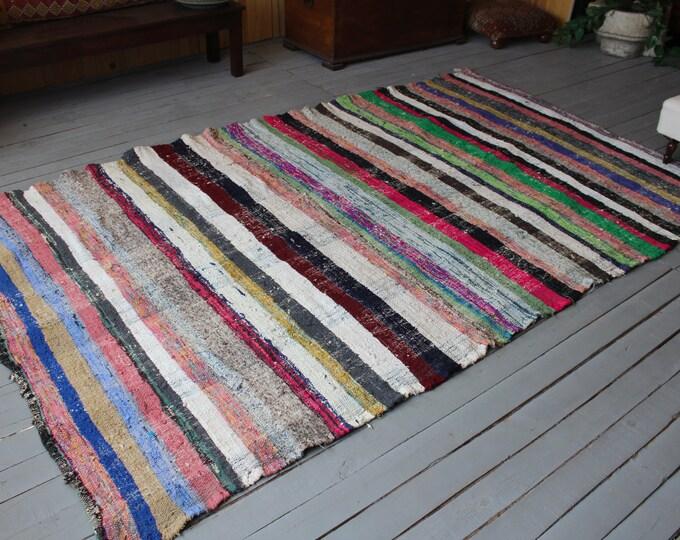 """5'6""""x9' ft   Vintage RAG RUG, Ethnic Turkish CHAPUT Kilim, Handmade Rag Rug, Bohemian Colored Rag Rug"""