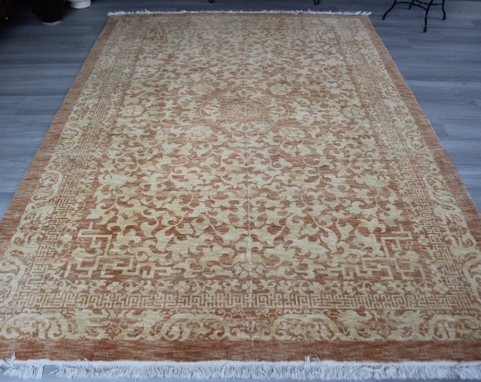 "6'1""x9' ft  Vintage Rug, Large Turkish Rug, Large Oushak Rug, Vintage Oushak Rug, Turkish Area Rug, Modern Design Area Rug"