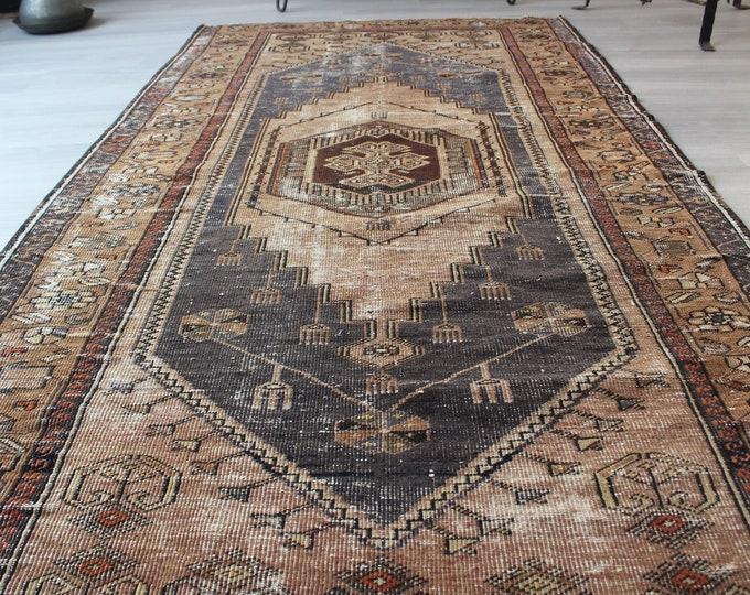 "Vintage Anatolian Rug, Vintage Turkish Rug, Blue Ethnic Rug, Bohemian Rug, Handwoven Wool Rug, Vintage Taspinar Rug  4'x7'5"" ft"