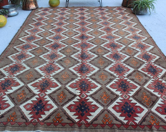 "7'2""x12' ft  Vintage Rug, Special Turkish Rug, Kilim Design Rug, Anatolian Rug, Ethnic Area Rug, Large Rug, Large Vintage Rug, Bohemian Rug"