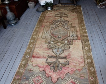 "4'5""x11'3"" ft  RUNNER, Vintage Konya Runner Rug, Turkish  Low Piled Oriental Runner Rug"