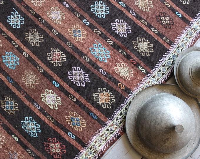 6'x11' ft  Vintage Turkish Kilim, Handwoven Jijim Kilim, Ethnic Kilim,Bohemian Wool Kilim Rug, Striped Modern Kilim Rug