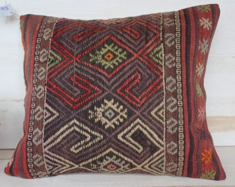 18x20 inch Kilim Pillow Cover, Ethnic Kilim Pillow Case, Bohemian Kilim Pillow Case, Vintage Kilim Pillow Cover, Turkish Kilim Pillow Case