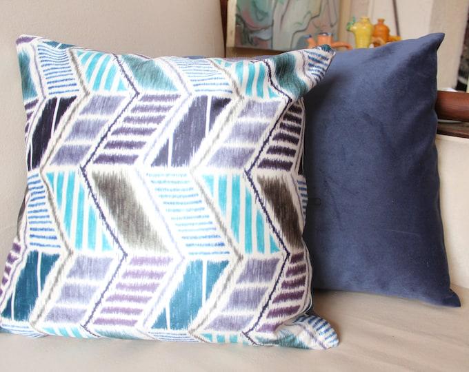 16.5x16.5 inch PAIR velvet and Ikat Pillow,Decorative pillow case.Blue Velvet and Ikat Velvet  pillow