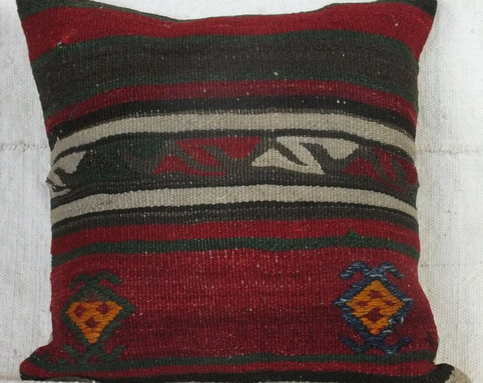 16x16 Pillow Case, Turkish Kilim Pillow, Boho Kilim Pillow Cover