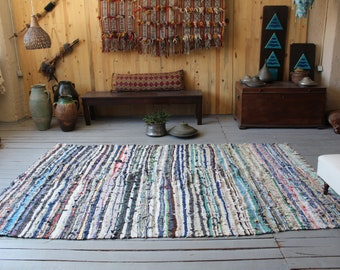 "5'3""x7'9"" ft Blue RAG RUG, Vintage Blue Striped Rag Rug, Ethnic Rag Rug, Bohemian Rag Rug, Traditional Turkish CHAPUT Kilim"