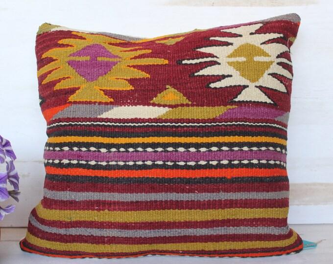 18x18 inch   Vintage Kilim Pillow, Ethnic Kilim Pillow Cover, Bohemian Kilim Pillow Case, Decorative Kilim Pillow Cover