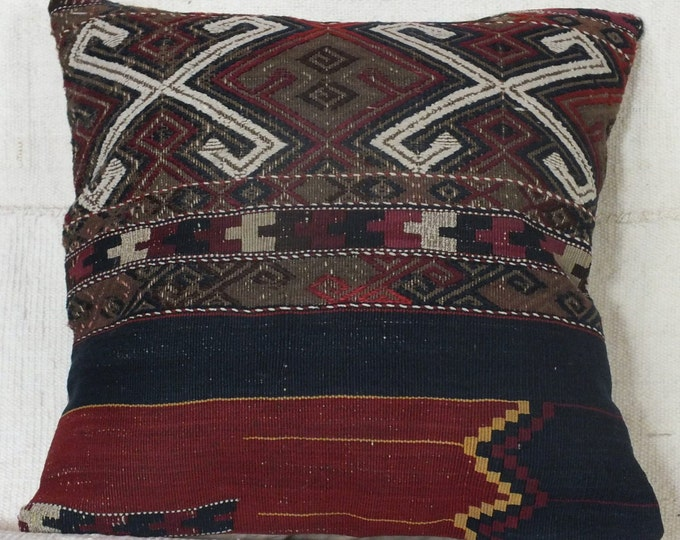 16x16 Pillow Case, Turkish Kilim Pillow, Kilim Pillow Cover