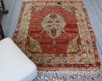 "3'5""x4'7"" ft Vintage Small Anatolian Rug, Turkish Organic Wool  Area Rug"