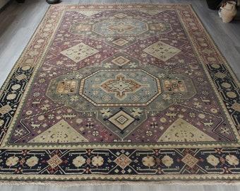"""8'6""""x13' ft Special Oversized Rug, Large Area rug, Lavender Color Large Rug,  Large  Vintage Rug, Ethnic Area Rug , Handwoven  Rug/  C-4346"""