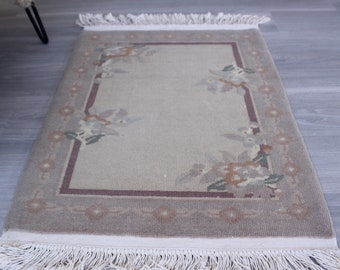 """2'x3'3"""" ft  Small Vintage Rug, Small Floral Rug, Small Bathroom Rug, Small Area Rug, Small Beige Rug, Handwoven Door Mat"""