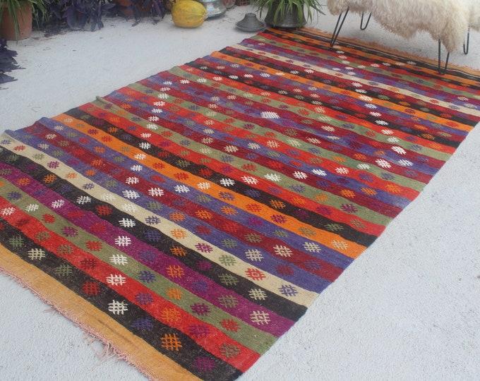 Vintage Kilim Rug, Large Area Kilim, Large Turkish Kilim, Large Anatolian Kilim, Large Mut Kilim, Jijim Kilim Rug, Striped Area Kilim