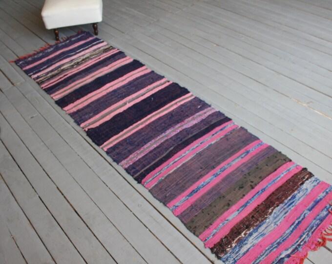"""2'2""""x 8'ft  RAG RUG, Vintage Rag Rug, Ethnic Bohemian Rag Rug, Turkish Anatolian Rag Rug, Traditional Chaput Kilim"""