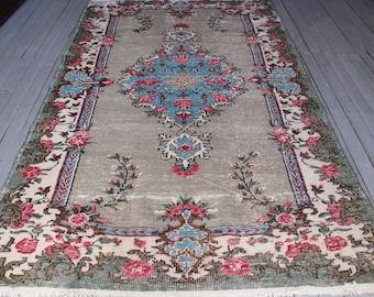 Vintage Turkish Rose Design  Carpet, Vintage Oushak Rug, Funky Pink Rose Rug, Bohemian Blue Medallion Rug