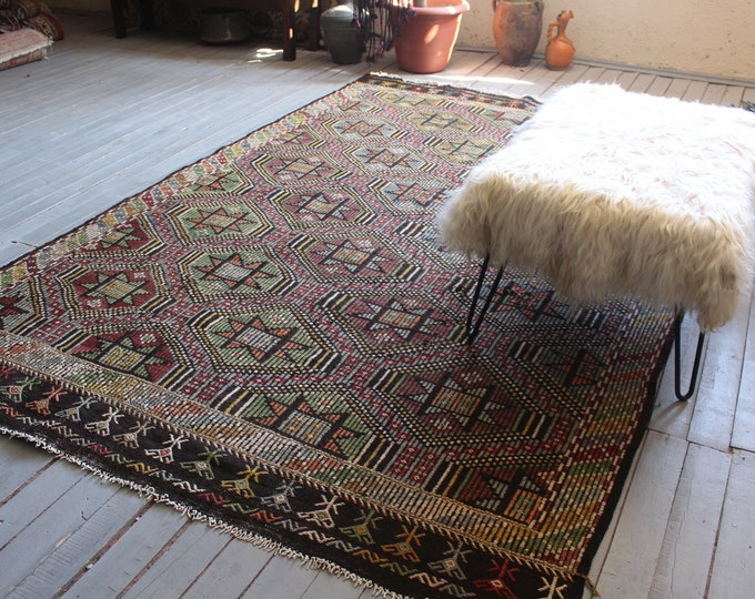 "6'3""x9'2"" ft  Vintage Anatolian Kilim Rug, Large Area Kilim, Large Ethnic Kilim, Multi Coloured Kilim Rug, Large Turkish Kilim"