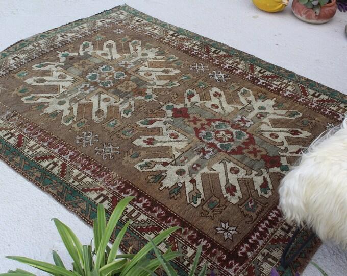 """4'6""""x6'4"""" ft  Vintage KARS Adler Rug, Special Turkish Rug, Brown-Beige Anatolian  Rug, Vintage Brown Rug, Turkish Area Rug"""