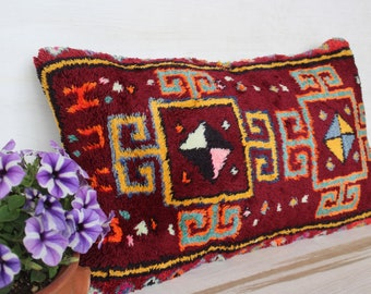 16x26 inch Carpet Lumbar Pillow Cover, Ethnic Rug Lumbar Pillow Case, Ethnic Lumbar Pillow, Bohemian Lumbar Pillow Case, Decorative Pillow